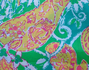 "pop goes the lemur poplin cotton fabric square 17""x17"" ~ lilly pulitzer"