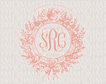Formal Garden Wreath - Vintage Custom Wedding Monogram - Wedding Logo - Wedding Crest