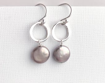Freshwater Coin Pearl Dangle Earrings with Hammered Sterling Silver Circles - Nickel Free Silver Earrings - Gray Pearl Jewelry