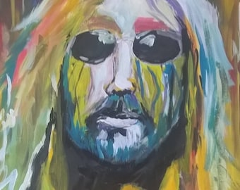 An abstract of Tom Petty, RIP, by Portland, OR artist Joseph Cardinal