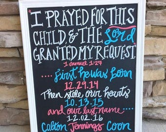 Chalkboard adoption i prayed for this child share last name foster care adoption
