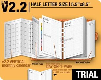 Trial [HALF size v2.2 w ds1 do1p] July to September 2018 - Half Letter - Filofax Inserts Refills Printable Binder Planner Midori.