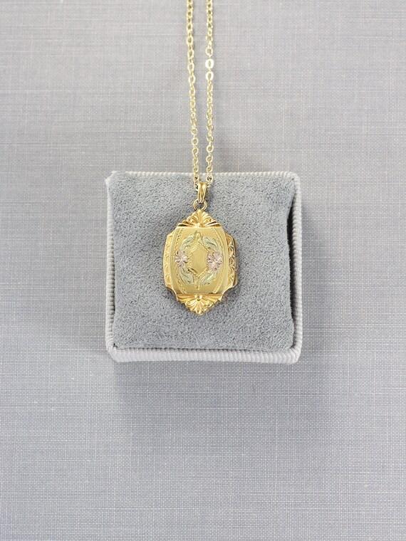 Gold Filled Locket Necklace, Vintage Hayward Photo Pendant - Elaborate Medallion