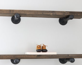 Set of two industrial pipe shelves