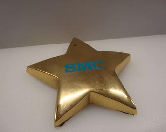 "Vintage Brass Plated ""SMC"" (Standard Microsystems Corporation) Star Paperweight - Circa 1980's - Great Vintage Piece!!"