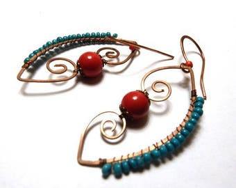 Earrings in copper and stone TURQUOISE and coral red