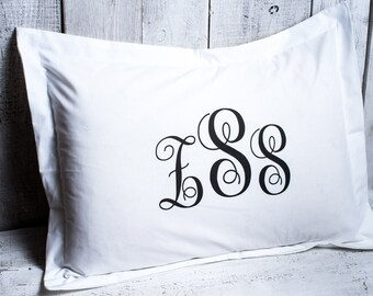 Monogram pillow case. Personalized pillowcase white 100% natural cotton. White bed pillow.