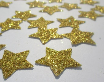 """150-Large 1 1/4""""-Glitter-Gold Star Confetti-Large star die cuts-twinkle twinkle Little Star-Birthday Party Decorations-Wedding décorations"""
