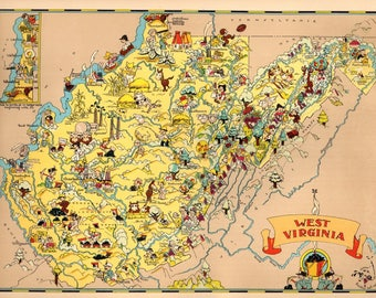 West virginia map Etsy