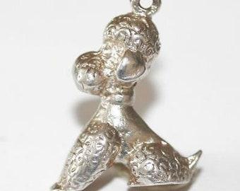 Vintage 1950's Poodle Dog Sterling Silver Bracelet Charm Pendant / Heavier 8.1g