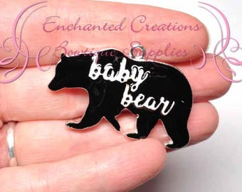 "1.75"" Baby Black Bear Charm, Chunky Pendant, Keychain, Bookmark, Zipper Pull, Chunky Jewelry, Purse or Planner Charm, See Mama Bear Charm"