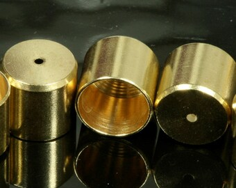 10 pcs 12 X 11 mm 11 mm inner raw brass cord  tip ends, ribbon end, ends cap, 1656 enc11