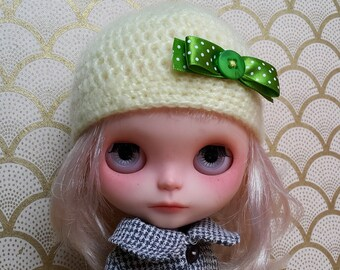 SALE % Yellow Mohair Hat with Green Bow for Blythe