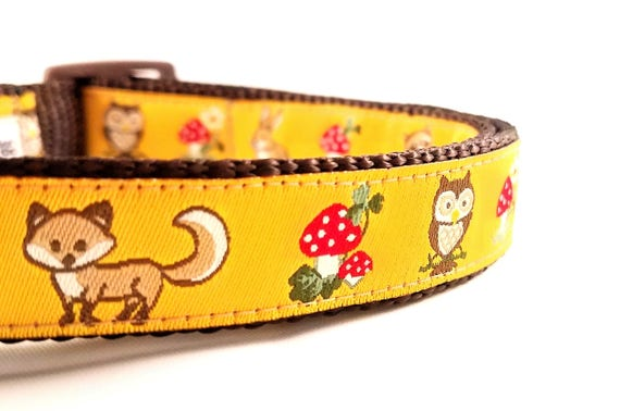 Happy Forest Friends Dog Collar / Adjustable / Foxes / Owls / Rabbits / Mushrooms / Small Dog Collar / Large Dog Collar / Dog Lover