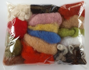 75g / 2.63 oz Bag Of Italian Carded / Batting Wool - Mixed 15 Colours – Needle Felt
