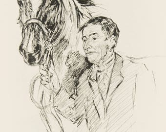 Vintage Horse Print, Portrait of Man & Horse, Circus Horses, 1930s Black and White Pencil Sketch by K. F. Barker DOUBLE SIDED