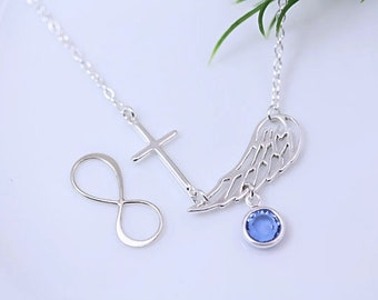 Angel Wing necklace, Guardian angel Necklace with birthstone.  Designed By MonyArt. Choose  Infinity OR Cross. confirmation, Sympathy Gift