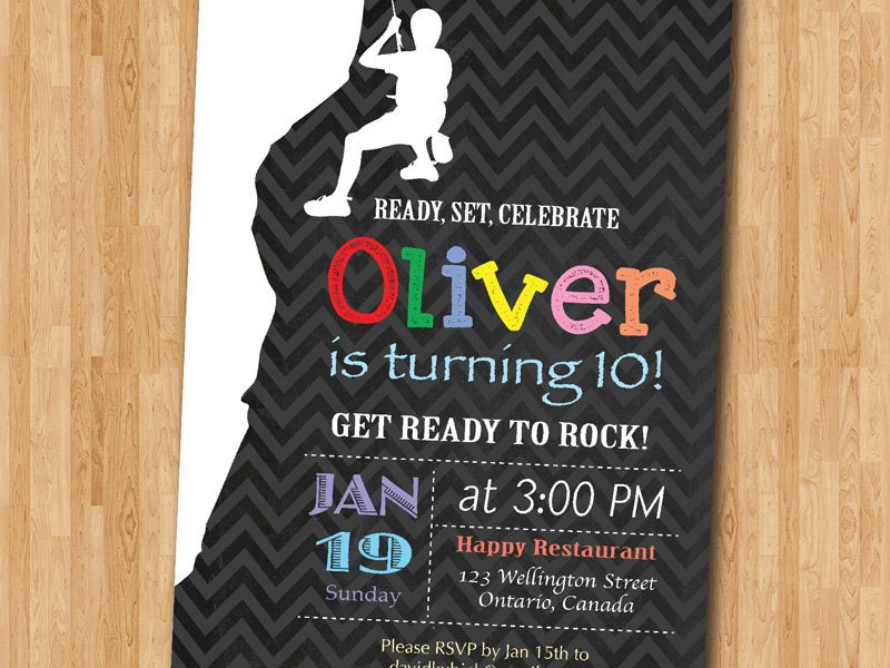 Rock Climbing Birthday Party Invitation Ready to Rock