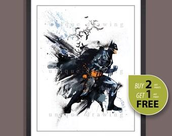 Superhero Batman print, Batman poster, Batman painting, Superhero poster, Superhero print, Superhero wall art, Kids decor, Home decor, 3503