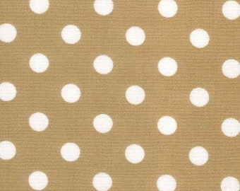 Tan and white polka dot cotton fabric