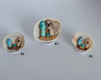 Nativity in Fimo within real shells