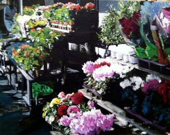 Paris Flower Market Original Art Marché aux Fleurs Acrylic Painting Framed