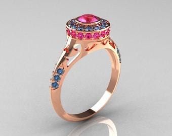 Modern Antique 14K Rose Gold Pink Sapphire Aquamarine Wedding Ring, Engagement Ring R191-14KRGAQPS
