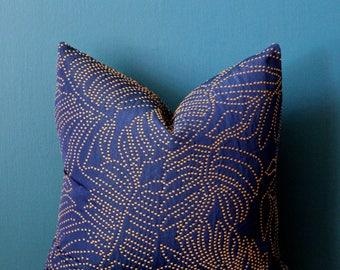 Jungalow Decor - Tropical Pillow Cover - Palm Leaf Pillow Cover - Island Decor - Navy Blue Pillow Cover - Botanical Pillow - Boho Pillow