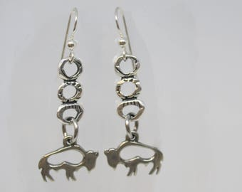 Buffalo Earrings, Buffalo Jewelry, Silver Buffalo Earrings, Dangle Earrings, Buffalo, Bison Earrings, Bison Jewelry, Buffalo Herd Earrings