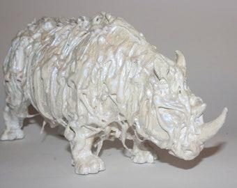 original rhino rhinoceros sculpture  / contemporary art/ toy plastic