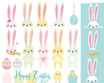 Easter bunny clip art - easter bunnies clipart chicks pastel rabbits eggs egg clipart bunnies spring, for personal and commercial use