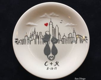 San Diego city skyline, Engagement gift, ring dish, New York, Philadelphia skyline, Personalized Hand Painted Ceramic Ring Dish plate