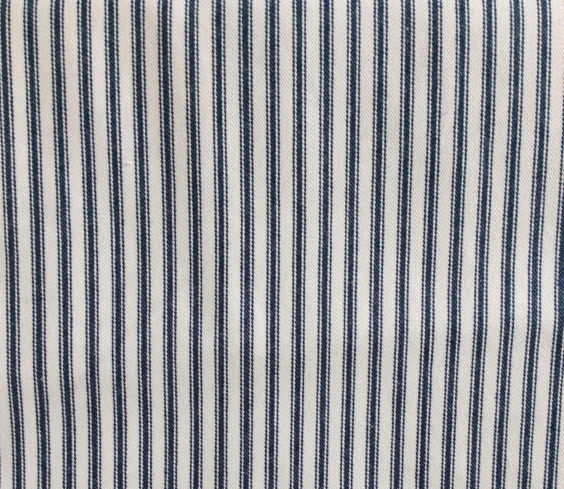 Classic Ticking Navy Blue And White Multipurpose Fabric