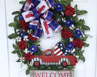 Patriotic Wreath, Patriotic Cotton Wreath, Grapevine Wreath, Red Truck Wreath, Patriotic Decor, Front Door Wreath, Farmhouse Wreath
