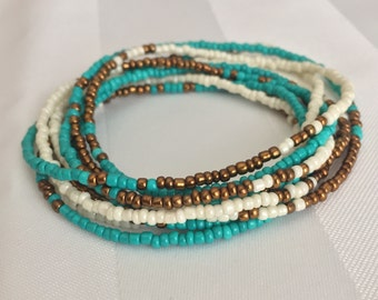 Tiny Seed Bead Multiwrap in Turquoise/Bronze/Ivory Mix - Tiny Seed Bead Jewelry - Multiwrap Bracelet - Multiwrap Necklace