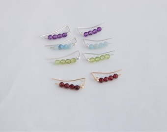 Ear Climber Earrings- Gemstone