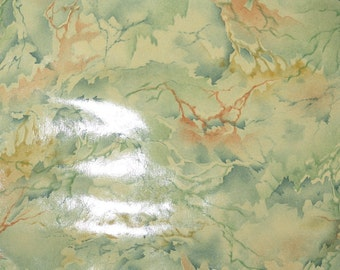 1930's Vintage Wallpaper - Blue and Orange Marble Faux Finish