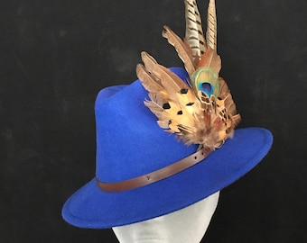ARABELLA Ladies Blue Wool Felt Trilby with Pheasant Feather Trim - Perfect for Cheltenham Races, Grand National, Country hat, Ladies Day
