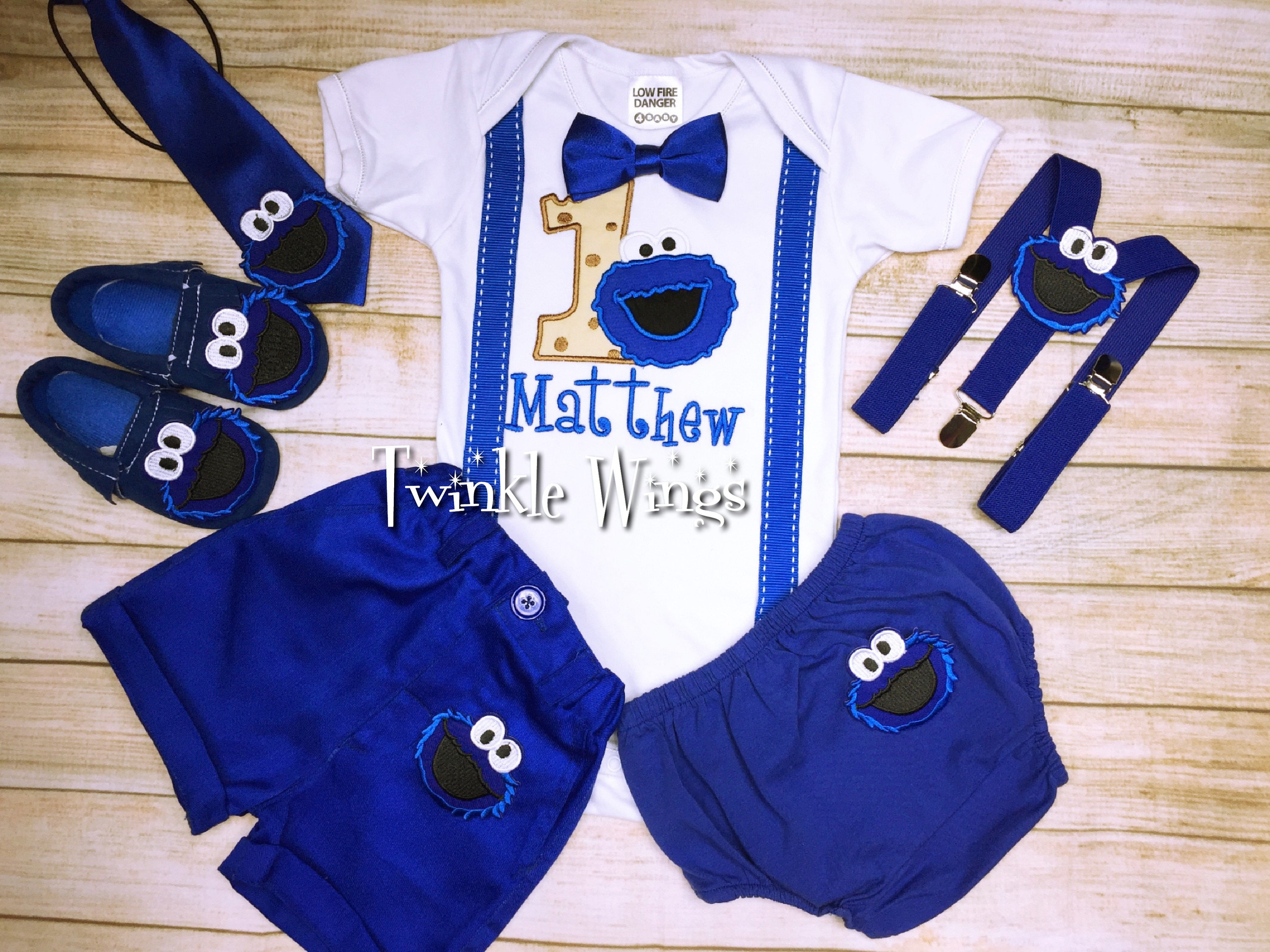 2 pc set Cookie monster birthday outfit include personalised top