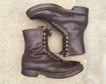 1960s Insulated Leather Work Boots Vintage Retro Dark Brown Leather Cork Sole Made in USA Mens Size 8 Womens Size 9.5