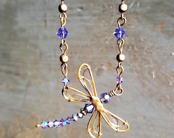 Tanzanite Dragonfly Necklace, Swarovski Crystal, Dragonfly Jewelry, Handcrafted Jewelry for Women