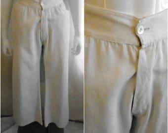 1920s Vintage Mens Pants White Cotton Button Fly Watch Pocket Sportswear