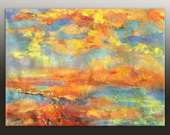 Abstract Oil Painting, Original Abstract Art, Contemporary Art, Living Room Wall Decor, Abstract Canvas Painting, Large Landscape Painting