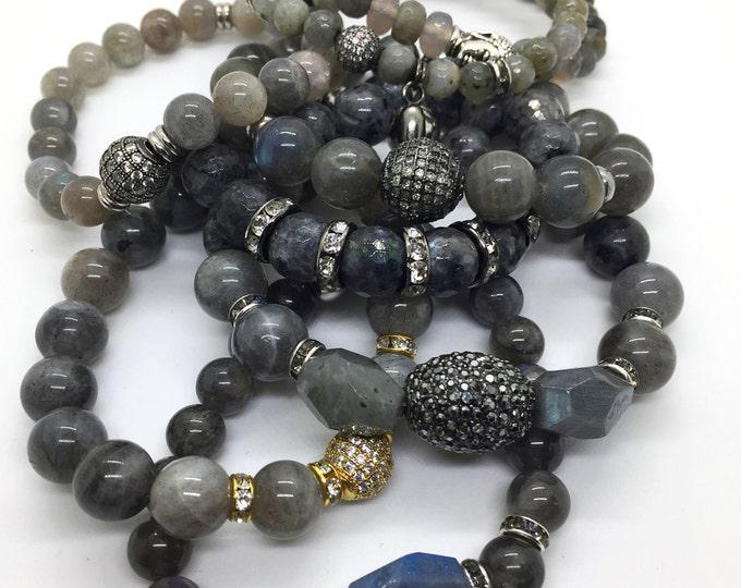 Featured listing image: Micro Pave Labradorite Bracelet, Hematite Bracelet, Gemstone Bracelet, Birthstone Bracelet, Beaded Bracelet, Men Bracelet, Women Bracelet