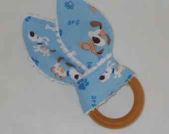 Blue Puppies Rabbit Ears Wooden Teething Ring