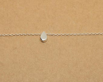 Tiny Tear Drop Sterling Silver Anklet, Dainty Delicate Anklet, Basic Simple Sterling Silver Jewelry