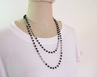 Long beaded necklace, Double wrap necklace, bead necklace, long necklace, Long black necklace