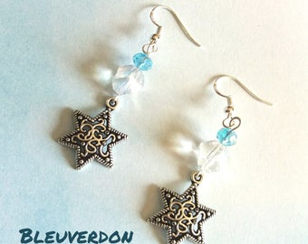 Stars, Czech Crystal beads and 925 sterling silver hooks earrings