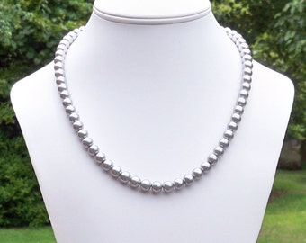 Gray Pearl Necklace Silver Pearl Necklace 8mm Round Gray Pearl Necklace Grey Pearl Necklace Silver Glass Pearl Necklace Gift for Mom
