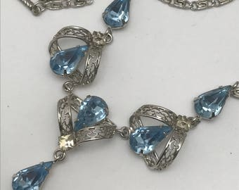 Vintage Sterling silver Necklace . Rhinestone . Art deco style jewelry